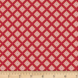 Red & Blue And Rose Too Lattice Red Fabric