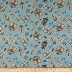Clothworks Beach House Toss Light Denim Fabric
