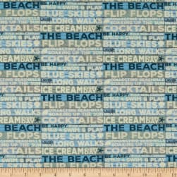 Clothworks Beach House Stripe Light Denim Fabric