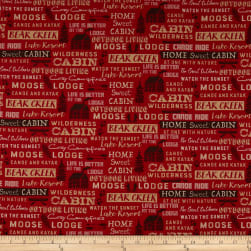 Windham Fabrics Home Sweet Cabin Cabin Words Red