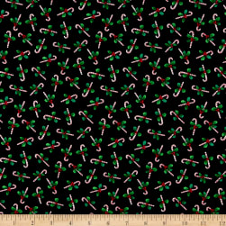 Windham Fabrics Holly Jolly Christmas Candy Canes Black