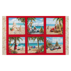 Sandy Clause 24'' Christmas Panel Red Fabric