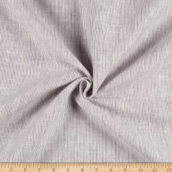100% Linen Hairline Stripe Navy