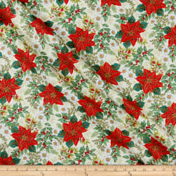 Andover/Makower UK Deck the Halls Large Poinsettia Cream Fabric