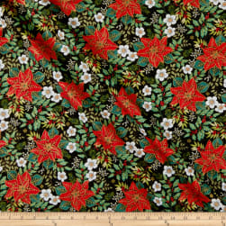 Andover/Makower UK Deck the Halls Large Poinsettia Black Fabric