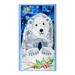 Andover Northern Lights Winter Bear 24'' Panel Blue Fabric