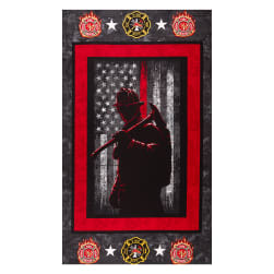 Fire Fighter Cotton Panel Red Fabric