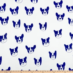 Double Brushed Poly Jersey Knit Boston Terrier Blue