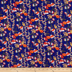 Double Brushed Poly Jersey Knit Allover Floral Navy/Coral