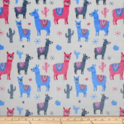 Plush Fleece Llamas White