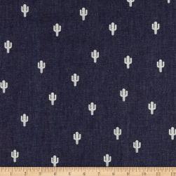 Telio Denim Cactus Print Dark Blue Fabric