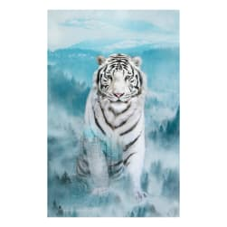 Hoffman Digital Call Of The Wild 30'' White Tiger Panel Ice Blue Fabric