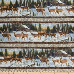 Northcott Pine Valley Snowy Deer Border Stripe White/Multi