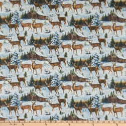 Northcott Pine Valley Snowy Deer Scenic White/Multi Fabric