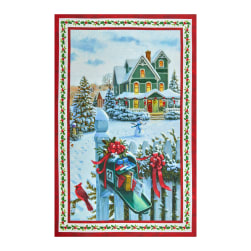 """Northcott Christmas Delivery 28"""" Panel Red/Multi Fabric"""
