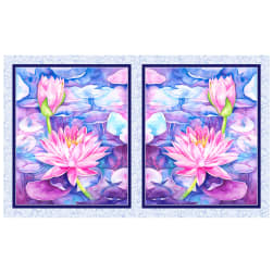 P&B Textiles Water Lilies Water Lilies 21'' Panel  Blue Violet Fabric