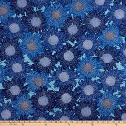 FreeSpirit Murmur Sunflower Blue Fabric