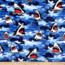 Whisper Fleece Shark Camo Blue Fabric