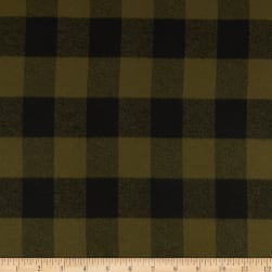Kaufman Mammoth Flannel Olive Black Buffalo Check