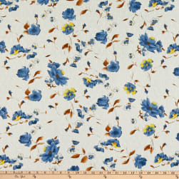 Telio Cotton Swiss Dot Print Floral White Denim Fabric