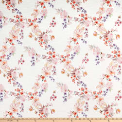Italian Digital Print Textured Stretch Cotton White/Pink/Orange