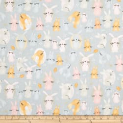 Comfy Flannel Print Bunnies Grey