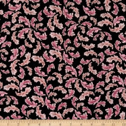 Loralie Designs Flamingo Fancy Flam Feathers Black Fabric