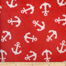 Coral Fleece KC Anchors Red Fabric