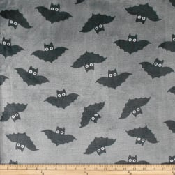 Coral Fleece KC Bats Grey Fabric