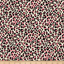Double Brushed Poly Jersey Knit Cheetah Neon Pink Fabric