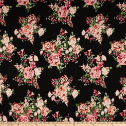 Double Brushed Poly Jersey Knit Floral Bouquet Black/Rose Fabric