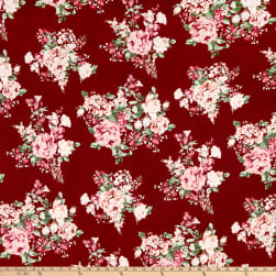 Double Brushed Poly Jersey Knit Floral Bouquet Burgundy/Rose Fabric
