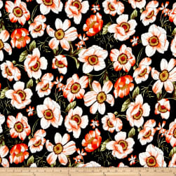 Double Brushed Poly Jersey Knit Blooming Floral Black/Coral Fabric