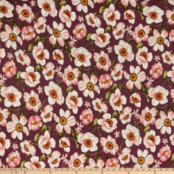 Fabric Merchants Double Brushed Poly Stretch Jersey Knit Blooming Floral Orchid/Mauve