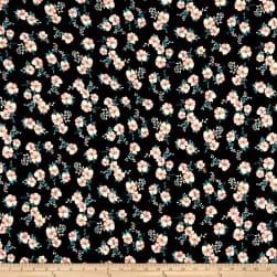 Double Brushed Poly Jersey Knit Mini Floral Black/Pink Fabric