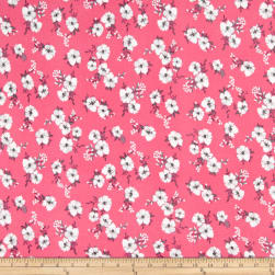 Double Brushed Poly Jersey Knit Mini Floral Pink/Grey Fabric