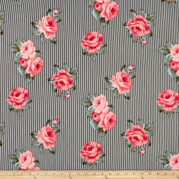 Double Brushed Poly Jersey Knit Striped Roses Black/Pink Fabric
