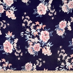 Double Brushed Poly Jersey Knit Floral Garden Navy/Mauve Fabric