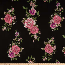 Double Brushed Poly Jersey Knit Floral Black/Hot Pink Fabric