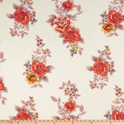 Double Brushed Poly Jersey Knit Floral Ivory/Coral