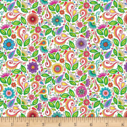 Wilmington Rainbow Flight Small Floral and Scroll White Fabric