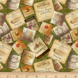 Wilmington Tuscan Delight Labels Allover Green Fabric