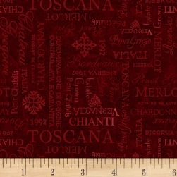 Wilmington Tuscan Delight Words Allover Red