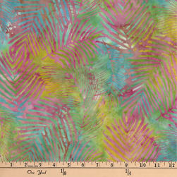 Central Java Indonesian Batik Leaf Aqua/Pink Fabric