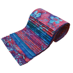 Indonesian Batik 6'' Strips Pack 24 Pcs Fuchsia/Purple/Blue