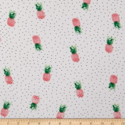 Fabtrends Rayon Soleil Pineapples On Dots Ivory