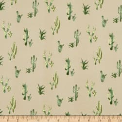 Double Brushed Poly Jersey Knit Cactus Taupe/Green Fabric