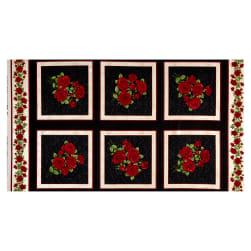 Benartex A Festival of Roses Festive Roses 24'' Panel Black Fabric