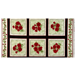 Benartex A Festival of Roses Festive Roses 24'' Panel Green Fabric