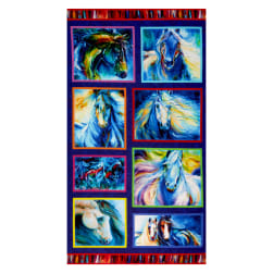 Benartex Painted Horses Painted Horses 24'' Panel Multi Fabric